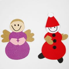 An Angel and a Pixie made from a Template and Materials from a Christmas Decoration Kit