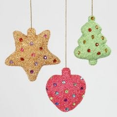 Christmas Decorations made from Polystyrene covered with Foam Clay and decorated with Rhinestones