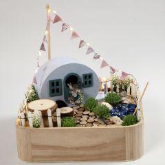 A miniature Camp Site in a Tray