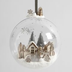 A Miniature World from Foam Clay and wooden Figures inside a Christmas Bauble