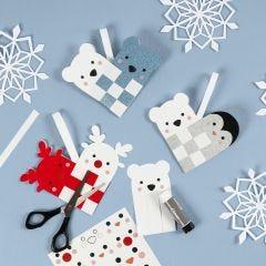 A woven Christmas Heart Basket with Polar Animals