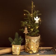 A Flower Pot covered with Faux Leather Paper decorated with Christmas Designs