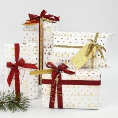 White and Gold Christmas Gift Wrapping decorated with Ribbon and Bonsai Wire Shapes
