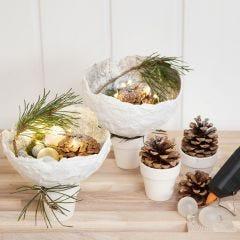 Gauze Bandage Bowls with Glitter balanced on Pots