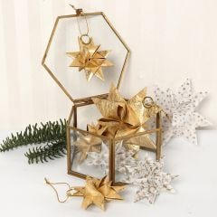 Stars made from Vellum Paper Star Strips and Gold Paper Star Strips covered with thin Silk Fibres