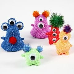 Foam Clay Aliens with Googly Eyes and Pom-poms