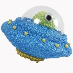 A Polystyrene UFO decorated with Foam Clay, Pearl Clay and one half of a transparent Bauble