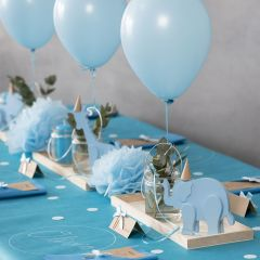 Decorations for a Christening with wooden Animals, folded Napkins, Menu Cards, Pom-poms and Helium Balloons
