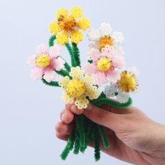 Flowers from Nabbi Fuse Beads and Pipe Cleaners with Pom-poms