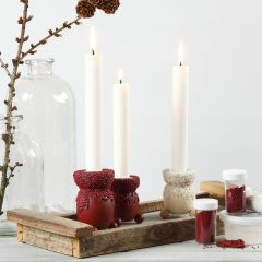 A Candle Holder decorated with Craft Paint and mini Glass Beads