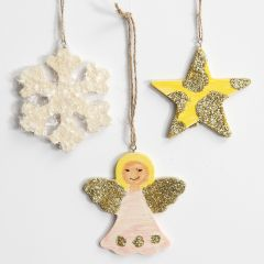 Christmas hanging Decorations with Glitter