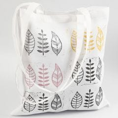 A homemade leaf stamp printed on fabric