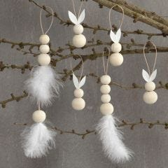 Hanging decorations with rabbits, feathers and wooden beads