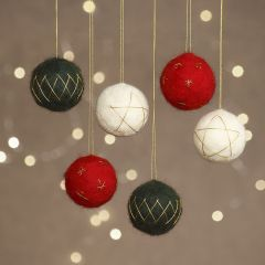 Needle felted Christmas baubles made from polystyrene balls decorated with gold thread