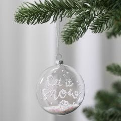 A flat glass bauble decorated with 3D Snow Effect