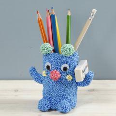 A teddy pencil holder from Foam Clay Large on a cardboard tube