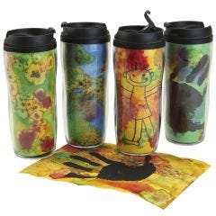 Personalised insulated mugs with colourful decorations