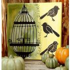 An Art Canvas with Birds and a Cage