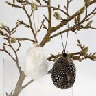 Hanging Eggs with staggered Guinea Fowl Feathers