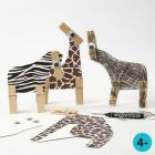 Wild Animals made from Card with Animal Fur Print and wooden Pegs