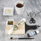 A painted wooden Chopping Board and Napkin Ring