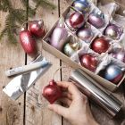 Wooden Christmas baubles decorated with Art Metal paint and deco foil