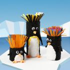 Cardboard tubes decorated as penguins
