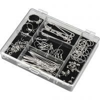 Jewellery Finding Starter Kit, silver-plated, 1 set