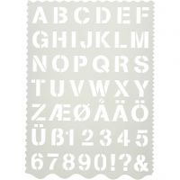 Shape Template, letters and numbers, H: 25 mm, 21x29 cm, 1 pc