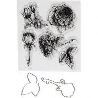 Clear stamps and cutting dies, flowers, size 4-6,5 cm, 1 pack