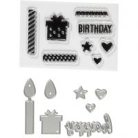 Clear stamps and cutting dies, birthday, size 10-70 mm, 1 pack