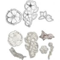 Clear stamps and cutting dies, flower, 1 pc
