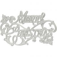 Die Cut and Embossing Folder, Merry Christmas, D: 11,5x7,2 cm, 1 pc