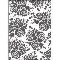 Embossing Folder, rose, size 13x18,5 cm, thickness 2 mm, 1 pc