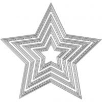 Die Cut and Embossing Folder, star, D: 3,5-11,5 cm, 1 pc