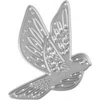 Die Cut and Embossing Folder, bird, size 5,6x6 cm, 1 pc