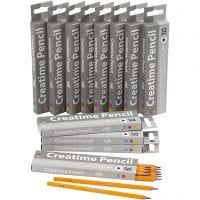 School Pencils, L: 17,5 cm, hardness HB, thickness 7 mm, lead 2 mm, 12x12 pc/ 1 pack
