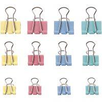 Foldback Clips, W: 15-19-25 mm, pastel colours, 30 asstd./ 1 pack