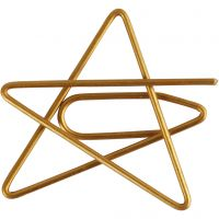 Metal Paperclips, star, size 30x30 mm, gold, 6 pc/ 1 pack