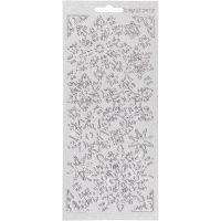 Stickers, snowflake, 10x23 cm, silver, 1 sheet
