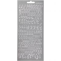 Stickers, alphabet, 10x23 cm, silver, 1 sheet