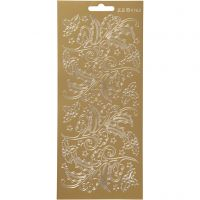 Stickers, holly, 10x23 cm, gold, 1 sheet