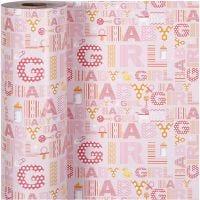Gift wrap, baby girl, W: 50 cm, 80 g, 150 m/ 1 roll