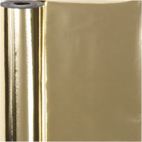 Wrapping Paper, W: 50 cm, 65 g, gold, 100 m/ 1 roll