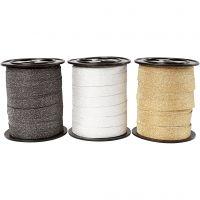 Curling Ribbon, W: 10 mm, glitter, black, gold, silver, 3x15 m/ 1 pack