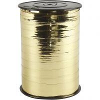 Curling Ribbon, W: 10 mm, glossy, metallic gold, 250 m/ 1 roll