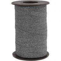 Curling Ribbon, W: 10 mm, glitter, black, 100 m/ 1 roll