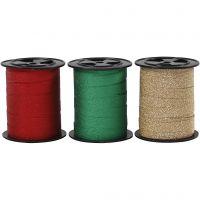 Curling Ribbon, W: 10 mm, glitter, gold, green, red, 3x15 m/ 1 pack