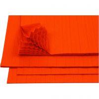 Honeycomb paper, 28x17,8 cm, orange, 8 sheet/ 1 pack