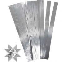 Paper Star Strips, L: 45 cm, D: 4,5 cm, W: 10 mm, silver, 100 strips/ 1 pack